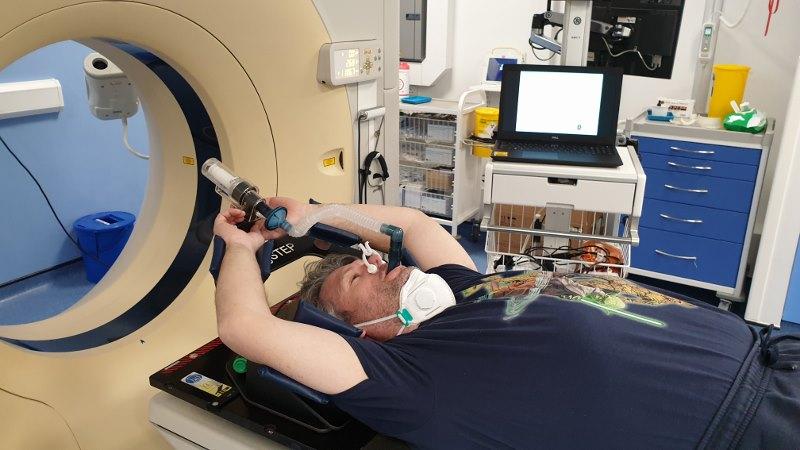 Paul taking MRI scan