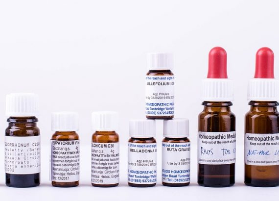 A variety of homeopathic medicines.